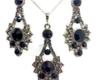 Black Bridal Jewelry Set, Gothic Bridal Earrings, Art Deco Necklace, Steampunk Wedding Jewelry, Bridesmaid Jewelry, Gift for Her, RAYS