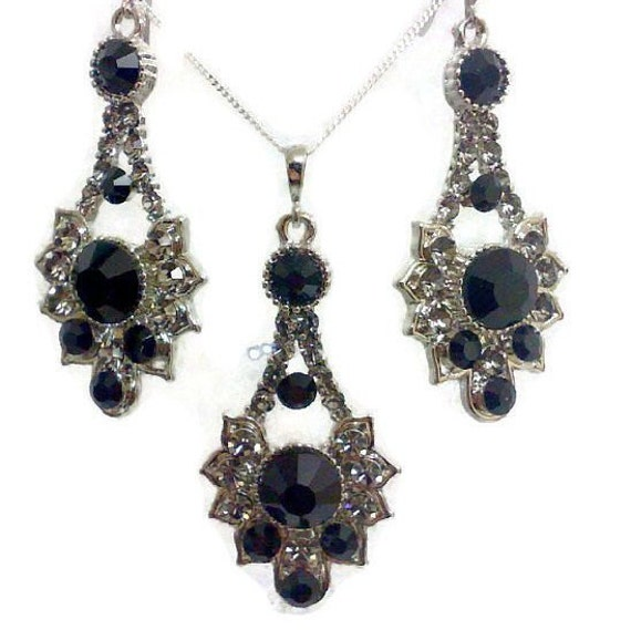 black bridal jewelry set bridal earrings deco