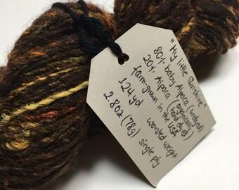 My Little Sunshine - Handspun Yarn - Baby Alpaca - 124 yards - Worsted Weight - USA grown