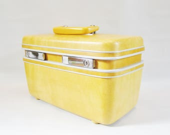 Vintage Train Case Luggage Overnight Tote GOLDEN HONEY Samsonite 1970s