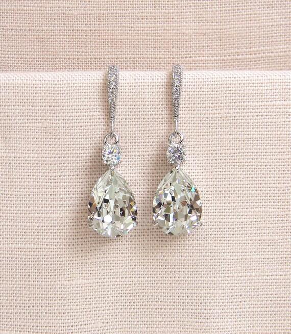 Crystal Bridal earrings  Wedding jewelry Swarovski Crystal Wedding earrings Bridal jewelry, Crystal Drop Bridal Earrings
