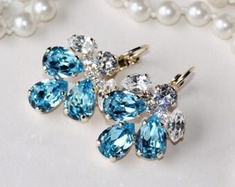 NEW Aqua Blue Clear Crystal Cluster Earring,Bridal Aqua Turquoise Blue Drop,Teardrop Pear,Cluster Style Setting,Something Blue,Rhinestone
