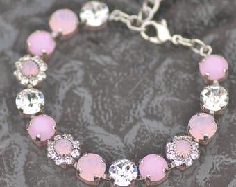 NEW Swarovski Rose Alabaster Pastel Flower Tennis Bracelet,Embellished Flower Rhinestone Tennis Bracelet,Unique,Crystal Link,Bridal,Clear