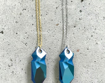 Metallic Blue JEAN PAUL GAULTIER Necklace, Dark Blue Swarovski Crystal Bullet Necklace, Raw Edge Crystal Point Necklace