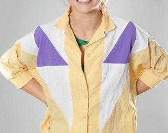 Medium Large 1990s Vintage Yellow  Purple Windbreaker Jacket 4BB
