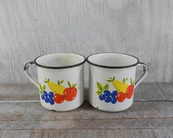 Enamelware cups, enamelware mugs, white enamelware, black and white, with fruit pattern, set of 2