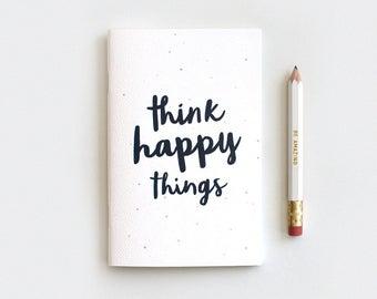 Think Happy Things Notebook & Pencil Set - Midori Travelers Notebook Insert, Black Type Watercolor Dots, Stocking Stuffer, Mini Large Midori