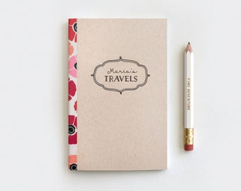 Travel Journal & Pencil Set - Christmas Gift Idea - Poppies Floral Journal on Brown, Customized Personalized Stocking Stuffer, 80 Pages