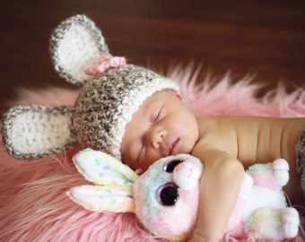 READY TO SHIP Baby Bunny Hat with removeable flower clip - Crochet Light Gray-Perfect Newborn Bunny Photo Prop or Easter