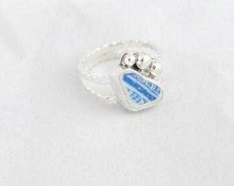 Size 6 Sea Pottery Ring, Sea Ceramic Ring, Sea Glass Ring, Sterling Silver Ring, Beach Pottery Ring, Beach Ceramic Ring, Beach Glass Ring,
