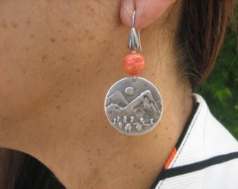 15%off SUNDANCE SILVER EARRINGS Japanese Mountains Coral Beads