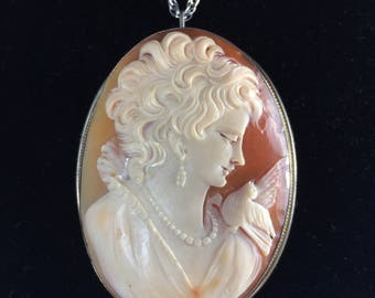 "Stunning Large Antique 2.25"" Carved Shell Cameo"