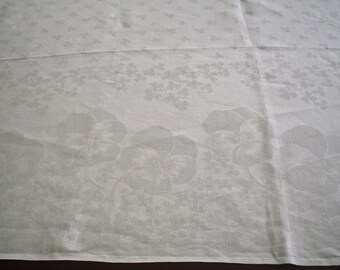 Vintage Linen Damask Tablecloth with Pansies and Shamrocks for Spring 86 Inches Long