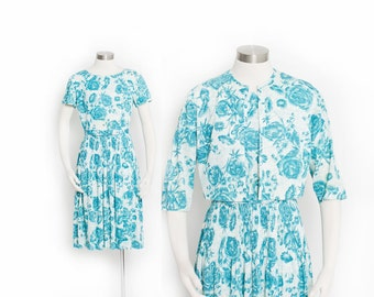 Vintage 60s Dress - Blue Floral Full Skirt Cropped Jacket Set 1950s - Small
