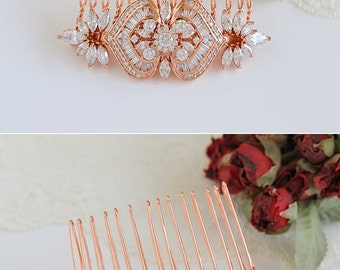 Rose Gold Bridal Hair Comb,  Crystal Wedding Hair Comb, Art Deco Hair Clip, Swarovski Pearl Flower Leaf Hairpiece, Hair Accessories, EZMAE