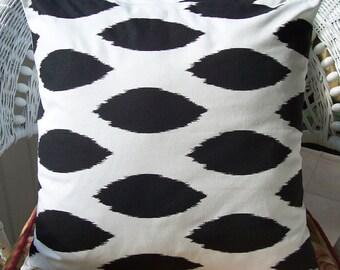 Black White Throw Pillow COVER Decorative Accent Cushion Black Couch Sofa Bedding Cushion Black Ikat Pillow Modern Black Pillow Euro Shams