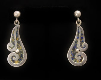 Pedro Castillo Sterling Earrings Pre-Eagle Curvilinear Lines & Stone Inlay Stud Backs