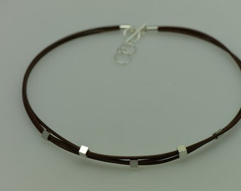Three Strand Metallic Brown Leather Necklace with Silver Cubes