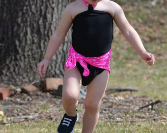 Baby Bathing Suit Pink and White Polka Dots w/ Black Wrap Around Swimsuit Girls, Newborn, Infant, Toddler One Size Tie On Swimwear hisOpal