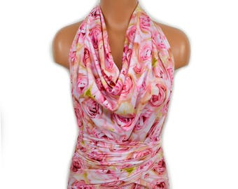 Bathing Suit Pink Roses Large Wrap Around Swimsuit One Wrap Floral Body Suit Womens, Teen and Maternity Swimwear Cowl Neck Flowers hisOpal