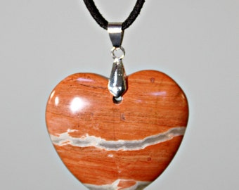 Red Jasper Heart Pendant Necklace ~ Terracotta / Gray Stone ~ Statement Necklace - Unique Jewelry Gift For Her ~ Valentines Day / Birthday