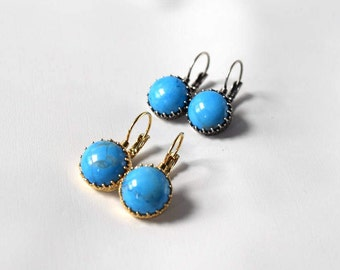Regency Turquoise Earrings, Glass Turqouise Earrings, Blue Turquoise Jewelry, Historical Jewelry Blue, Regency Jewelry, 19th Cen Torquoise