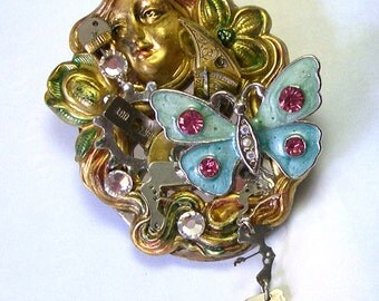 Hand Painted Upcycled Recycled Unique OOAK Handmade Steampunk Goddess Brooch, handmade goddess pin, spiritual brooch, spiritual pin
