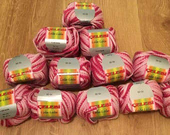 12 balls/skeins of Celebi Feza Lule Pinks tricolor Mix novelty yarn scarves crafting ruffles knitting crochet