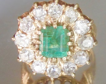 Antique Emerald and Diamond Halo Engagement Ring 18K