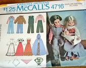 """Vintage 1970s Craft Sewing Pattern McCalls 4716 Fashion Doll Clothes 11.5"""" Barbie 12"""" Ken 9"""" Baby Prairie Country Western Uncut Factory Fold"""