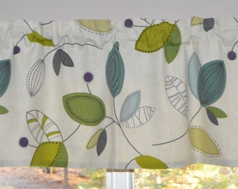 Kitchen Curtain / Leaf Valance . Magnolia Homes Calder Jewel  Leaf Fabric . FULLY Lined.  Can be Customized . Handmade by SeamsOriginal