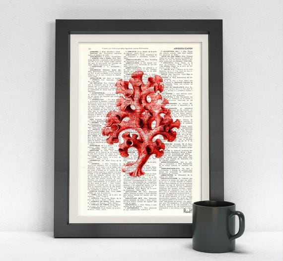 Art Pirnt on Dictionary or Encyclopedia Page Curly Red Coral sealife wall art, beach house decor, wall art SEA045