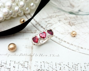 Garnet CZ Heart Ring - PMC Jewelry, Silver Ring, PMC Ring, Silver Jewelry