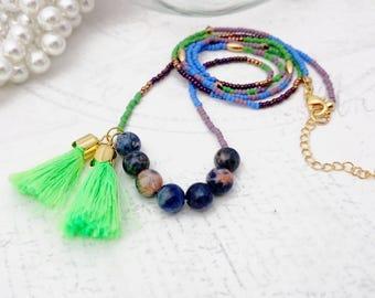 Beaded Tassel Necklace - Neon Green Tassel Necklace, Beaded Necklace