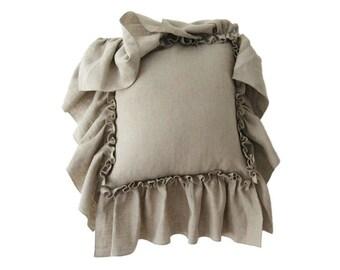 Linen ruffle pillow cover, Custom color decorative pillow, Linen accent pillow with ruffles, Linen throw cushion, 20 x 20 in, 50 x 50 cm