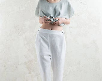 White linen women's pants, White trousers for woman, LHI linen women's clothing
