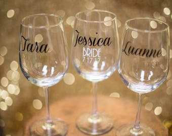 Bridesmaids wine glasses, Bridesmaid, Bridal party glasses, personalized bridal party, wedding party gifts, maid of honor gift, bride ideas