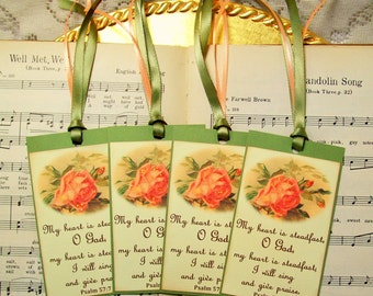 Scripture Tags, Scrapbook Tags, Psalm 57:7, Bible Tags, Gift Tags, Set of 4, My Heart is Steadfast, Religious Favors, Bible Favors