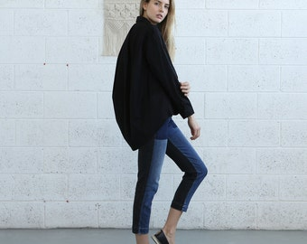 Button down  Cotton blouse, Black.