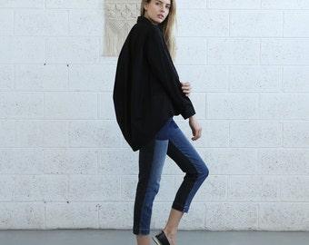 Button down  Cotton blouse, Black.