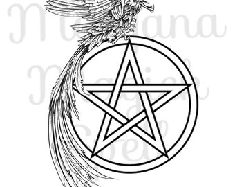 CROW & PENTACLE Clipart Illustration Royalty Free Digital Image Download Printable Graphic Clip Art Transfers Prints HQ 300dpi jpg png