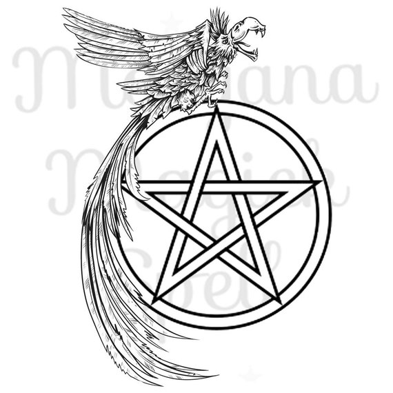 Crow & Pentacle Royalty Free Clipart