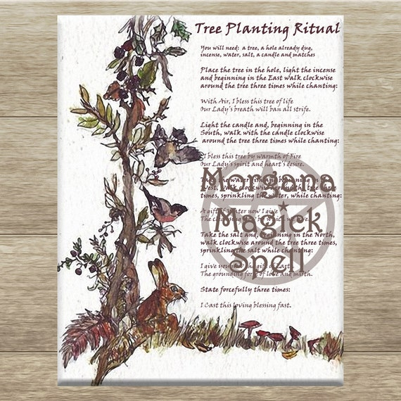 TREE PLANTING RITUAL Spell, Digital Download,  White Magick Spell, Book of Shadows Page, Grimoire, Scrapbook, Spells
