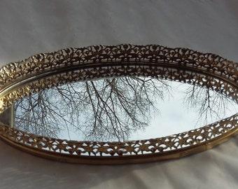 Vanity Mirror Tray Oval Decorative Mirror Platter