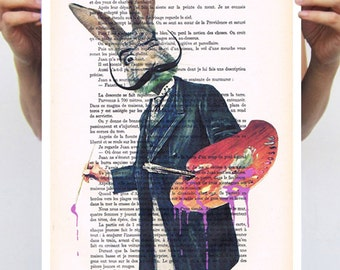 Salvador Dali Poster Size11x16 by Coco de Paris, elegant rabbit, bunny print, acrylic painting, rabbit drawing: Rabbit Painter