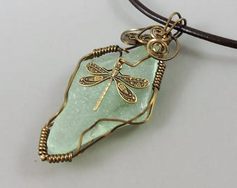 Wire Wrapped Sea Glass Necklace, Dragonfly Necklace, Beach Jewelry, Ocean Jewelry, Sea Glass Jewelry