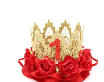 First Birthday lace crown ||  gold + red roses + red satin ribbon || customize ANY age