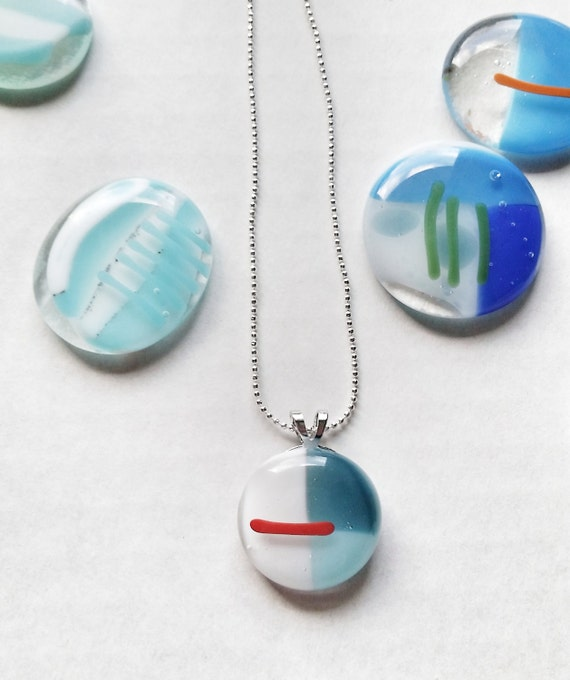 Glass Pendant- Red, White, Blue on Silver Chain