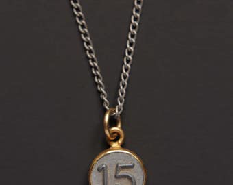 Necklaces for Men - Numerology - Number 15 Necklace - Personalized Men Jewelry - Mens Jewelry - Number Fifteen Pendant - men silver chain