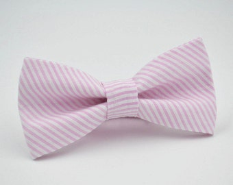Seersucker Bow Tie, Pink and White Stripe Seersucker, Bow Ties For Men, Wedding Bow Ties, Groomsmen Bow Ties, By AmandaJoHandmade on Etsy